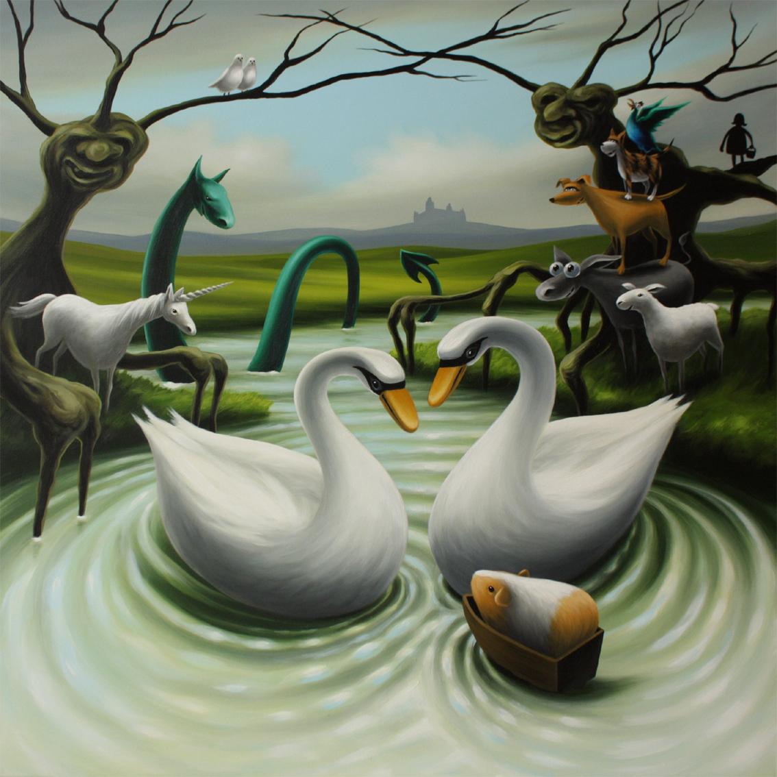 Mythen und Märchen, Acryl/Lw, 90 x 90 cm, 1000 €