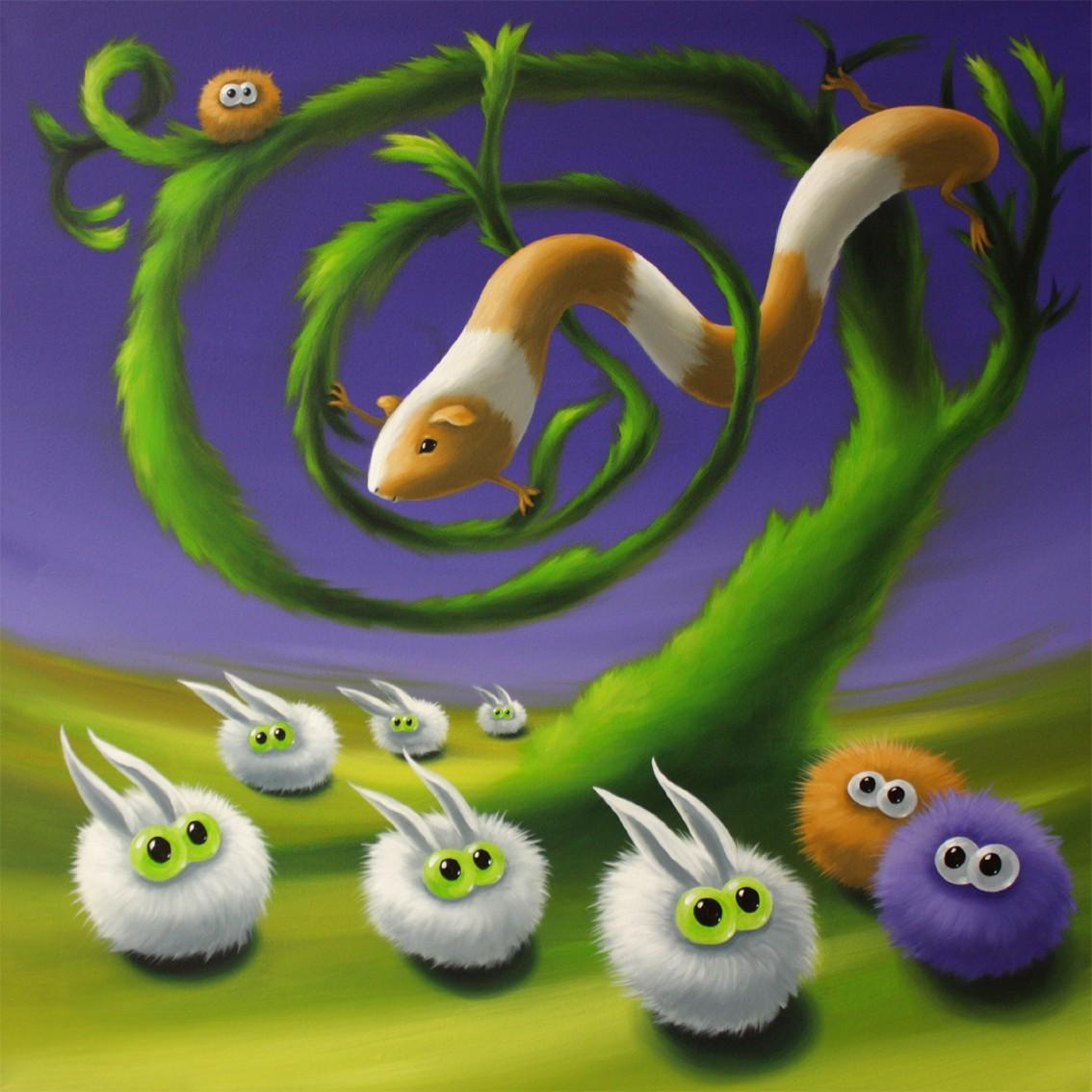 chasing rabbits, Acryl/Lw, 80 x 80 cm, 800 €
