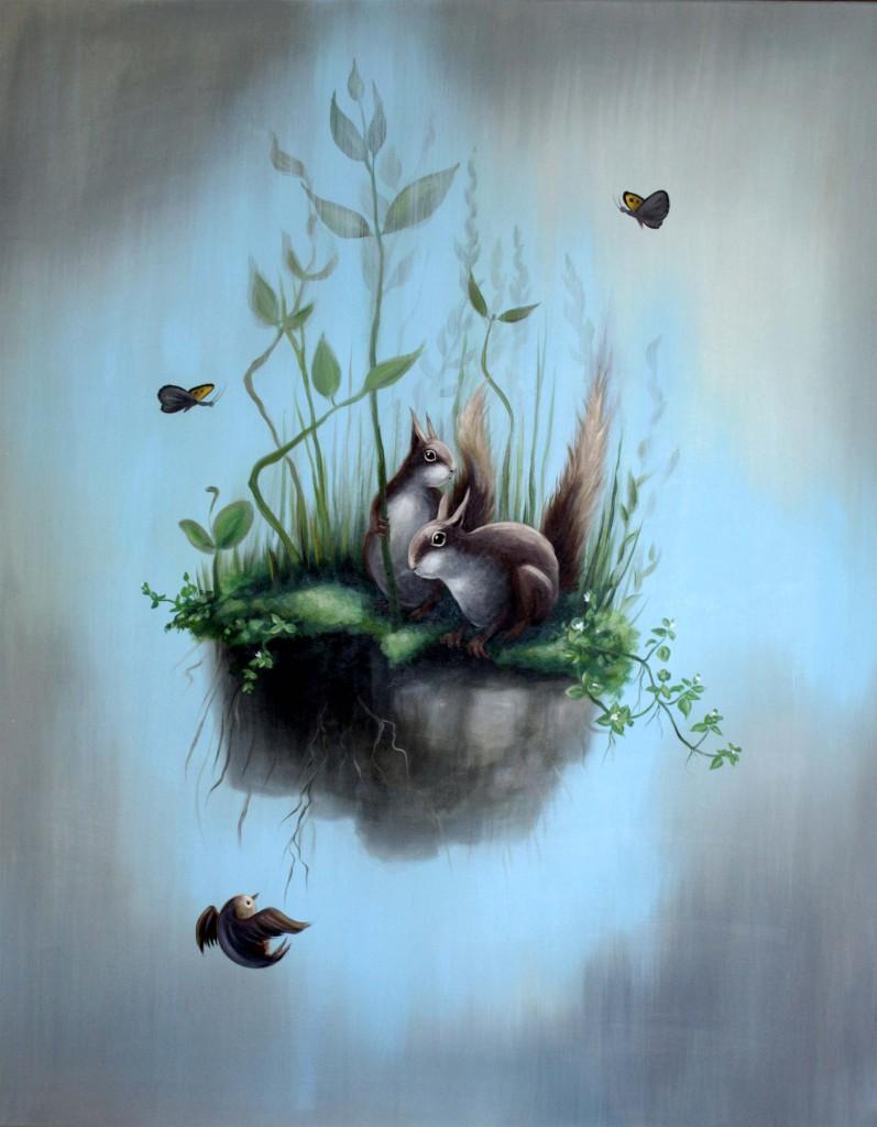fallendes Wiesenstück mit Eichhörnchen, Acryl/Lw, 70 x 90 cm, 800 €