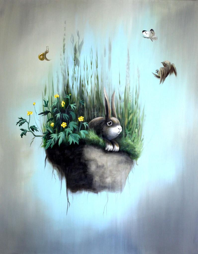 Hase auf fallendem Wiesenstück, Acryl/Lw, 70 x 90 cm, 900 €