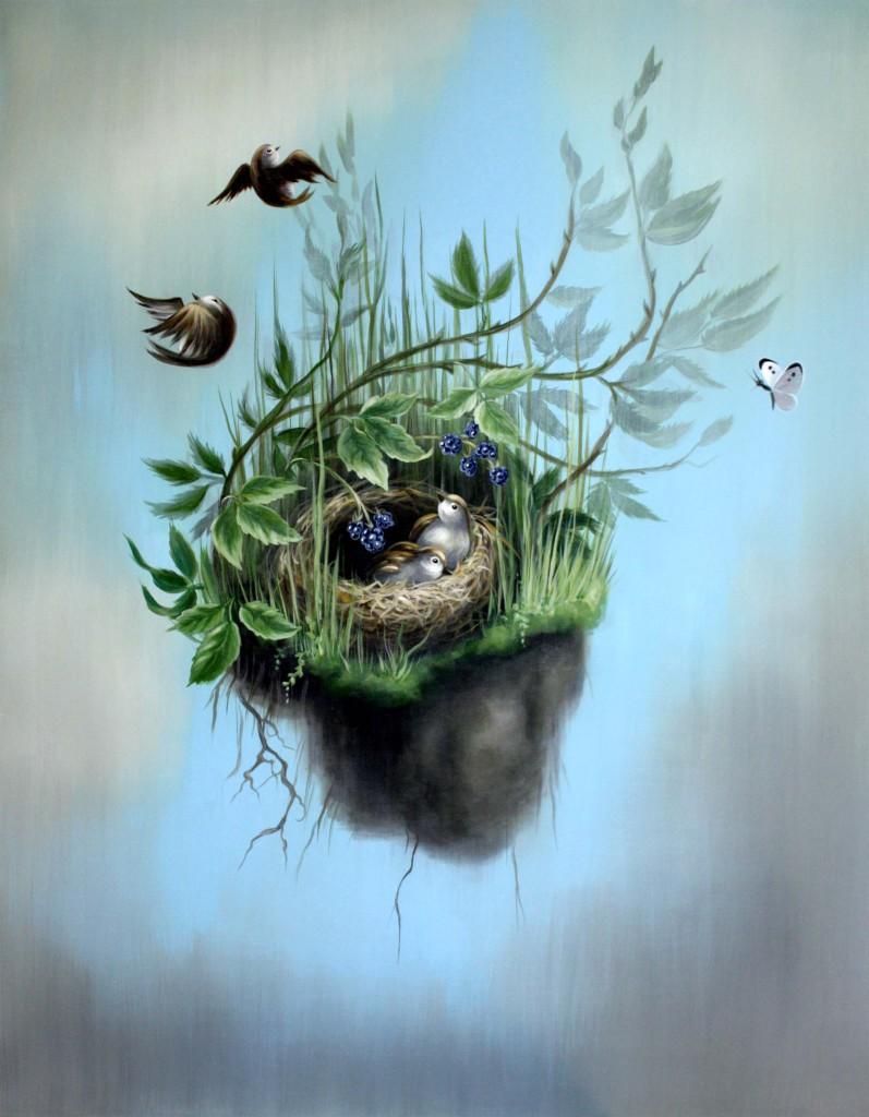 fallende Vögel, Acryl/Lw, 70 x 90 cm, 900 €