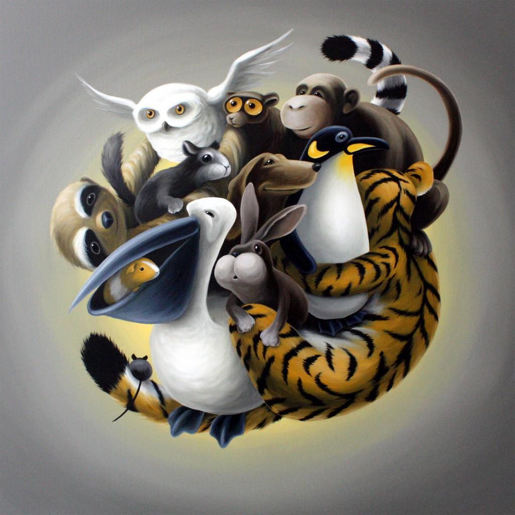 Akkumulation III (Tierknäuel mit Tiger), 100 x 100 cm, Acryl/Lw, 1600 €